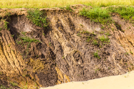 mud slide: Soil erosion on agricultural land well down from the rain.