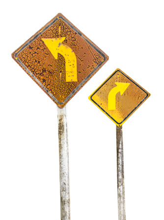 isolates: Isolates of old traffic sign on the right and left curves weathered. Stock Photo