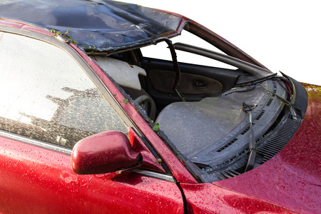Windshield break, which disappeared in a red car who caused the accident. photo