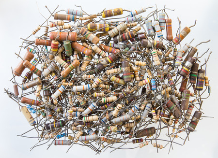 assembler: old resistors were used, taken from a repair technician. Stock Photo