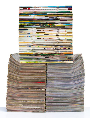 Isolates of spine journal publications pile stacked layers beautifully packed. photo