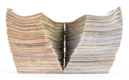 isolates: Isolates side journals, many of which overlap and separate pile in the wings. Stock Photo