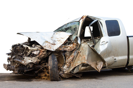 fender bender: Isolates the condition of the car was demolished after the accident collided violently.