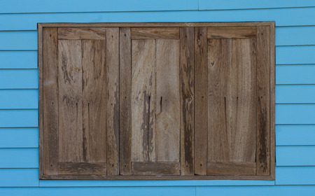 wood window: Background old wood window wall blue wooden colorful traditional to contemporary.