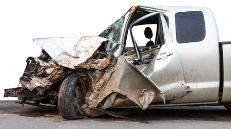 Isolates the condition of the car was demolished after the accident collided violently.
