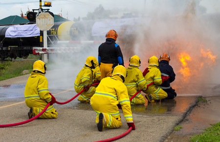 firefighter: Team Thailand firefighters extinguished the blaze, flames, smoke close to the train tanker, which is dangerous.