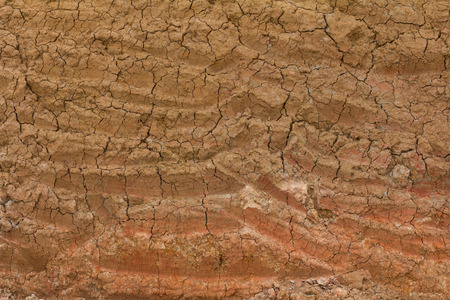 Background texture of the soil which was dug then abandoned until weathered cracked.