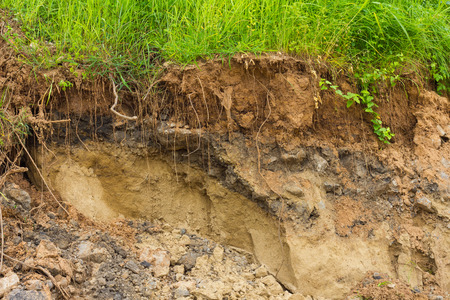 Background layers of soil and rock that was eroded and drilling until a cliff covered with grass. Stock Photo