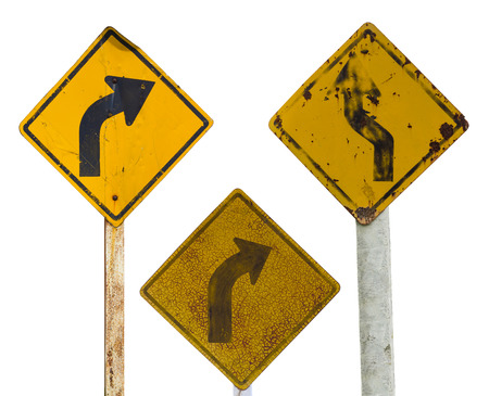 because: Isolate sign three traffic turn moldy old rusty weathered because of a long year. Stock Photo