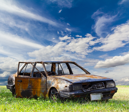devastated: Blue saloon car which caught fire devastated the park on the grass with the sky as a backdrop.