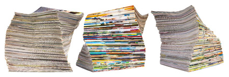 periodicals: Isolate the spine colorful pile of books, periodicals, which overlap many beautiful row of three piles. Stock Photo