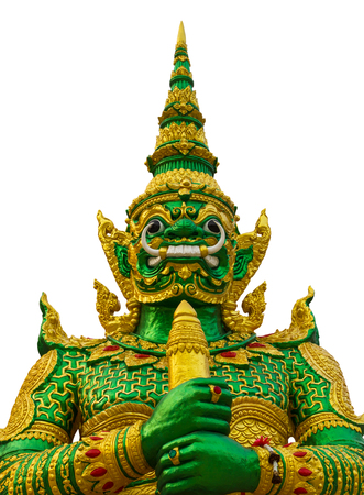 body jewelry: Isolated close-giant statue green with gold body jewelry, beautiful and strong in a monastery.