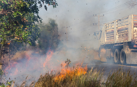 resulted: Severe roadside grass fires caused a thick cloud of smoke, which resulted trucks passing inconvenience. Stock Photo