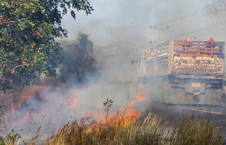 inconvenience: Severe roadside grass fires caused a thick cloud of smoke, which resulted trucks passing inconvenience. Stock Photo