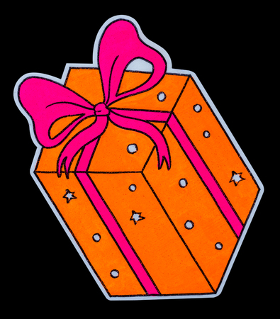 Isolate painting orange gift box tied with a pink bow is made of soft foam material. Stock Photo