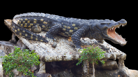 agape: Isolate Statue large crocodile was agape on the rocks in the garden, which acts like the real thing.