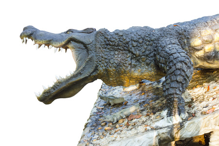 agape: Isolated close-side statue crocodile which was agape with awe on the stone. Stock Photo