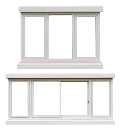 sash: Isolate sash windows aluminum white concrete beams in both stripe pink beautiful decorations inside. Stock Photo