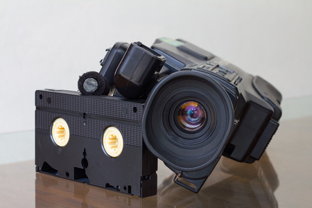 videotape: Close-lens video camera, videotape version, which was abandoned shelter with roll videotape.