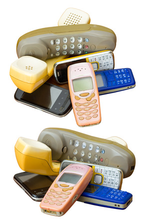 Isolate mobile phones longtime different deprecated stack together to destroy and dispose.