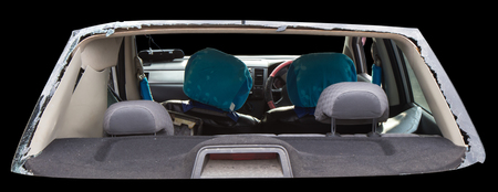 shattered glass: Isolates vulnerable rear car accident, which shattered the glass out of the seat until clear. Stock Photo