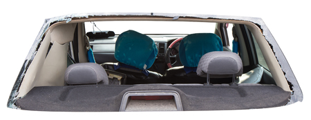 vulnerable: Isolates vulnerable rear car accident, which shattered the glass out of the seat until clear. Stock Photo