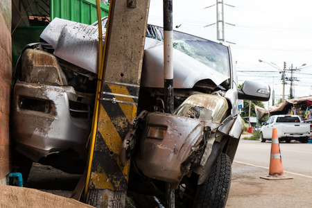Close the front car collided with a power pole accident so severe that demolished due to drunk drivers.
