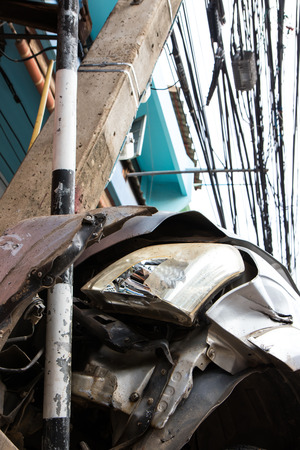 intoxication: Bottom view car collided with a power pole next to the road accident which caused severe intoxication.