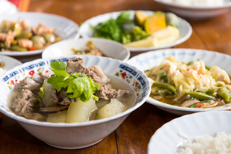 popular soup: Close the hatch melon soup with pork ribs, a popular dish in Thailand and many more.