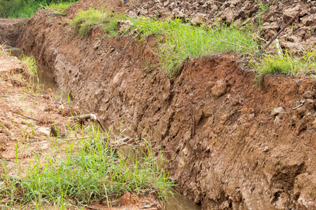 deforested: Close-long trench was excavated soil left on the grass grows and water flows through at least a little.