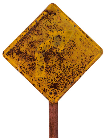 octaves: Isolate sign turn right because the old rusty weathered a long time until the arrow octaves. Stock Photo