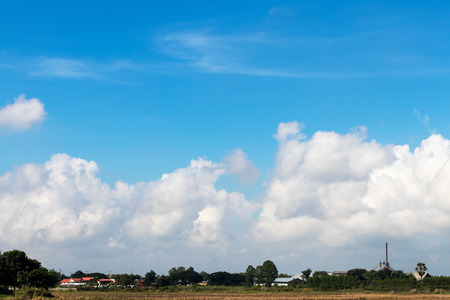 the arable land: Background scenery rural agriculture Thailand, which has mills and homes are close together.