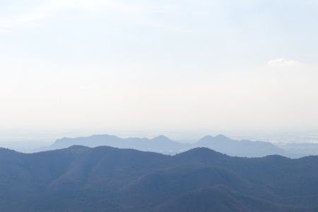 smoky mountains: Silhouette panoramic views of the mountains of which overlap in the evening light. Stock Photo