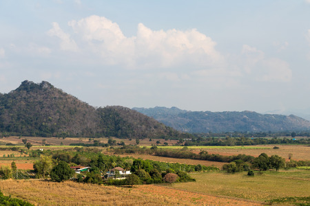 decimated: Scenic hillside homes in rural areas of Thailand, which is agriculture, deforestation and drought.