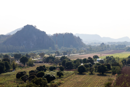 deforested: Scenic hillside homes in rural areas of Thailand, which is agriculture, deforestation and drought.