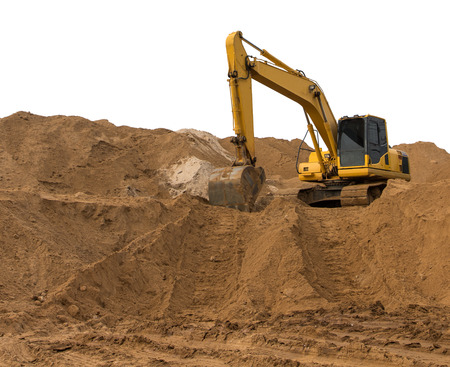 earthmover: Loader backhoe parked there on the mountain, which has a large pile of sand in the wheel tracks below.