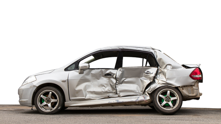 Isolate side of the car, the color of Braun White, which crashed with another car until it was demolished.
