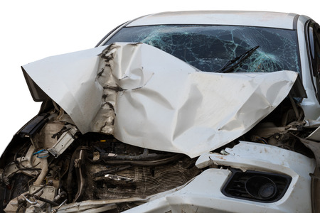 Close-up image of the front of the car, which was severely devastated by another car crash.
