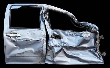Isolate car doors, both colors of Bourne crumpled crumpled by the accident.