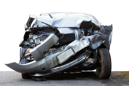 Isolate front car on paved roads, which was demolished due to accidental collision with other cars severely. Stock Photo