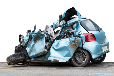 Isolate light blue car was demolished in another accident, causing serious injury to the driver.