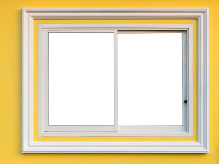Close-up Window Background, Aluminum Frame And White Concrete ...