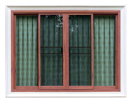 Isolate close-up picture Background of wooden window frame in white color with green curtain inside glass