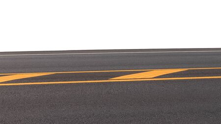 The new asphalt road background with yellow and white stripes on the top for convenient transportation.