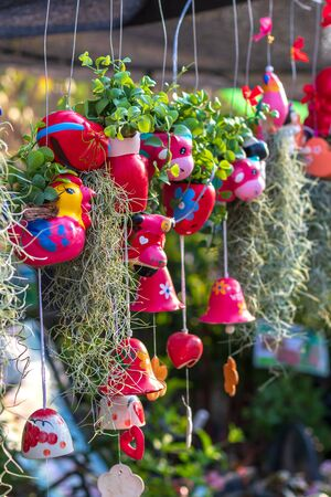 Close up shot of the Hermit Bearded Grass with colorful ceramic tuktak hanging in the backyard of a Thai countryside. Stok Fotoğraf
