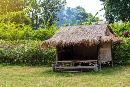 A close-up view of a bamboo hut, a thatched roof mounted on grassy land near the shrubs and rural trees.