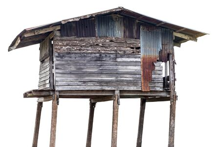 Isolate, hut, a house which is an old wood, damaged, decay, often left and found in the Thai countryside.