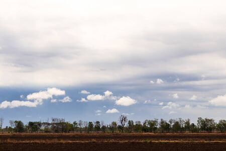 Morning clouds over the arid rice fields, where the ground has been plowed near the trees in the Thai countryside.