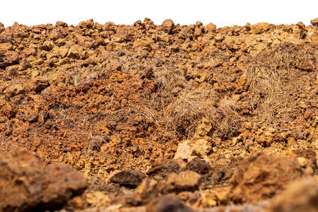 Low angle, close up, background, mound of soil, which is mixed with hay and blurred foreground.