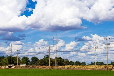 Views of green rice fields and many electricity poles on the Thai countryside road with cloudy during the day.
